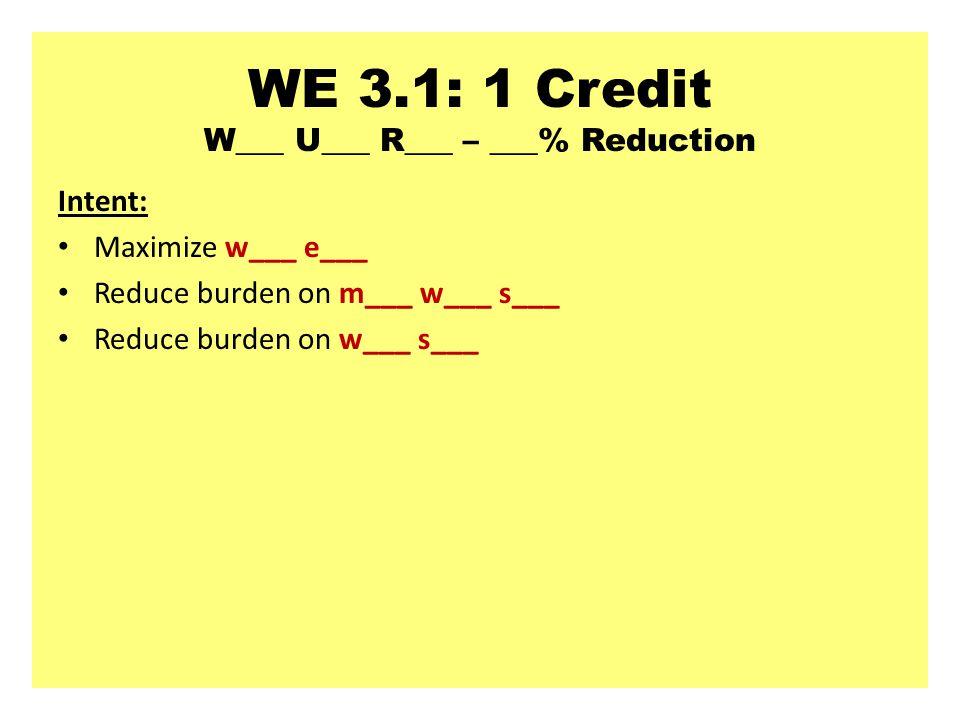 WE 3.1: 1 Credit W___ U___ R___ – ___% Reduction Intent: Maximize w___ e___ Reduce burden on m___ w___ s___ Reduce burden on w___ s___