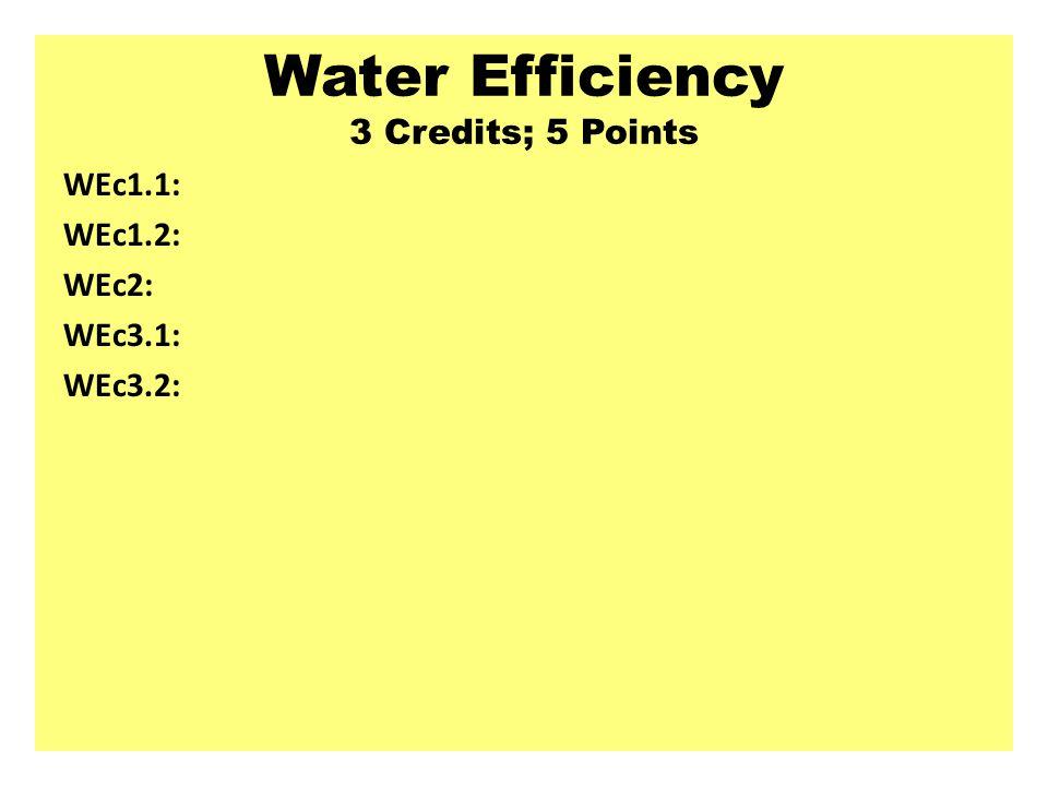Water Efficiency 3 Credits; 5 Points WEc1.1: WEc1.2: WEc2: WEc3.1: WEc3.2: