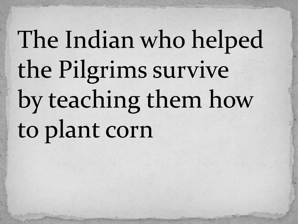The Indian who helped the Pilgrims survive by teaching them how to plant corn