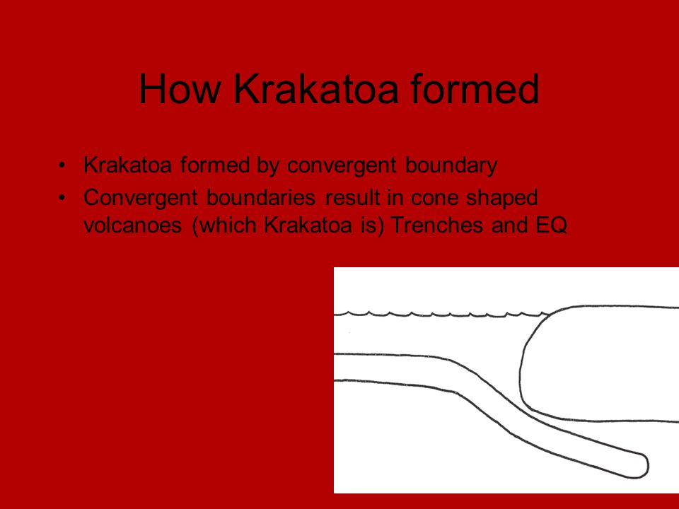 How Krakatoa formed Krakatoa formed by convergent boundary Convergent boundaries result in cone shaped volcanoes (which Krakatoa is) Trenches and EQ