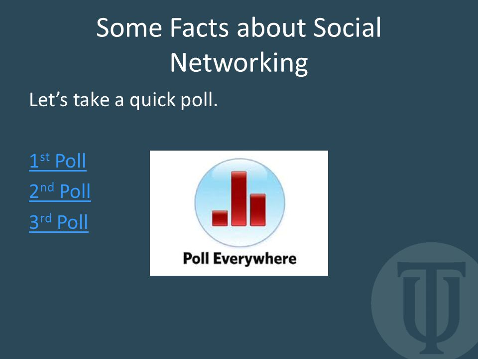 Some Facts about Social Networking Let's take a quick poll. 1 st Poll 2 nd Poll 3 rd Poll