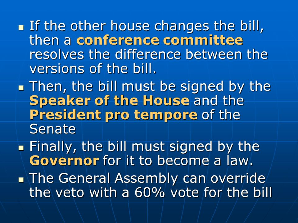 If the other house changes the bill, then a conference committee resolves the difference between the versions of the bill. If the other house changes