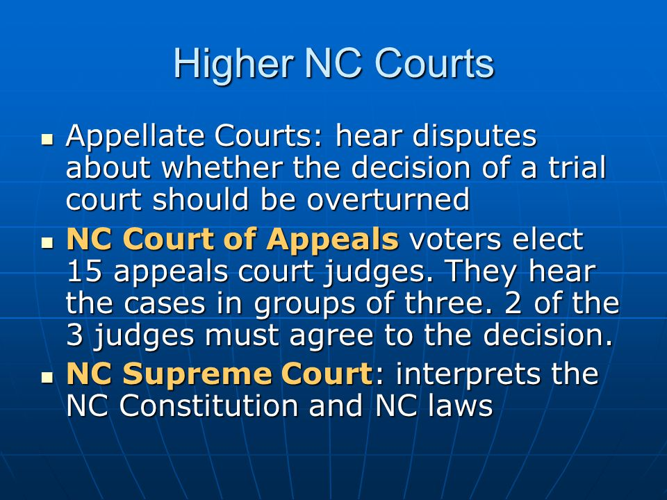 NC Supreme Court Voters elect the chief justice and 6 associate justices for an 8-year term.