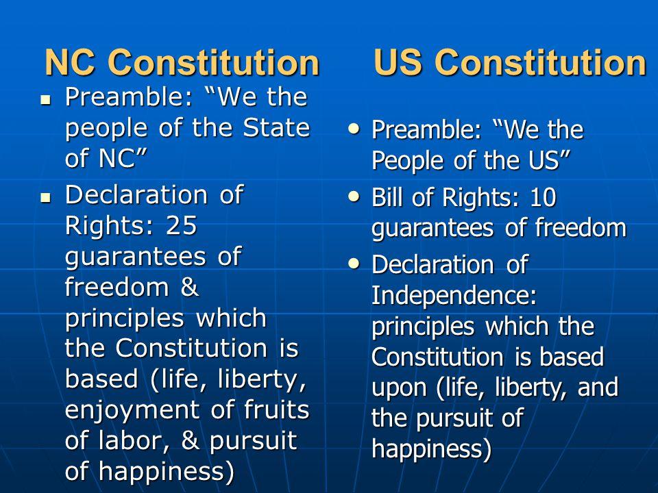 """NC Constitution US Constitution Preamble: """"We the people of the State of NC"""" Preamble: """"We the people of the State of NC"""" Declaration of Rights: 25 gu"""