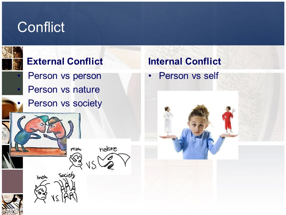 Conflict External Conflict Person vs person Person vs nature Person vs society Internal Conflict Person vs self