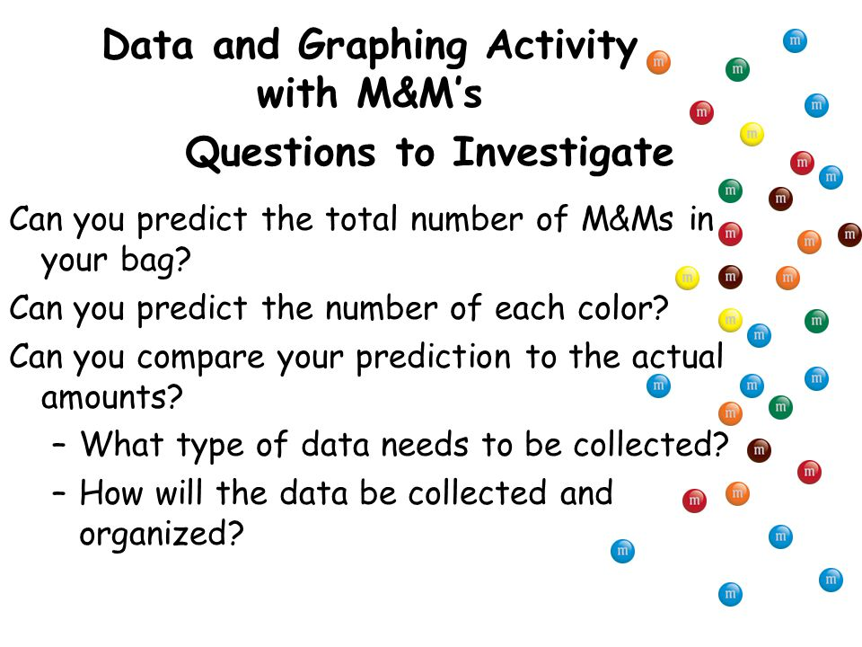 Questions to Investigate Can you predict the total number of M&Ms in your bag.