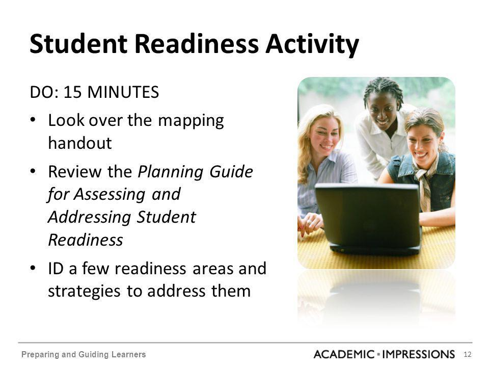 12 Preparing and Guiding Learners Student Readiness Activity DO: 15 MINUTES Look over the mapping handout Review the Planning Guide for Assessing and Addressing Student Readiness ID a few readiness areas and strategies to address them