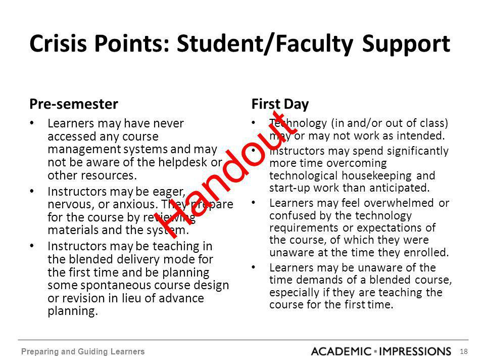 18 Preparing and Guiding Learners Crisis Points: Student/Faculty Support Pre-semester Learners may have never accessed any course management systems a
