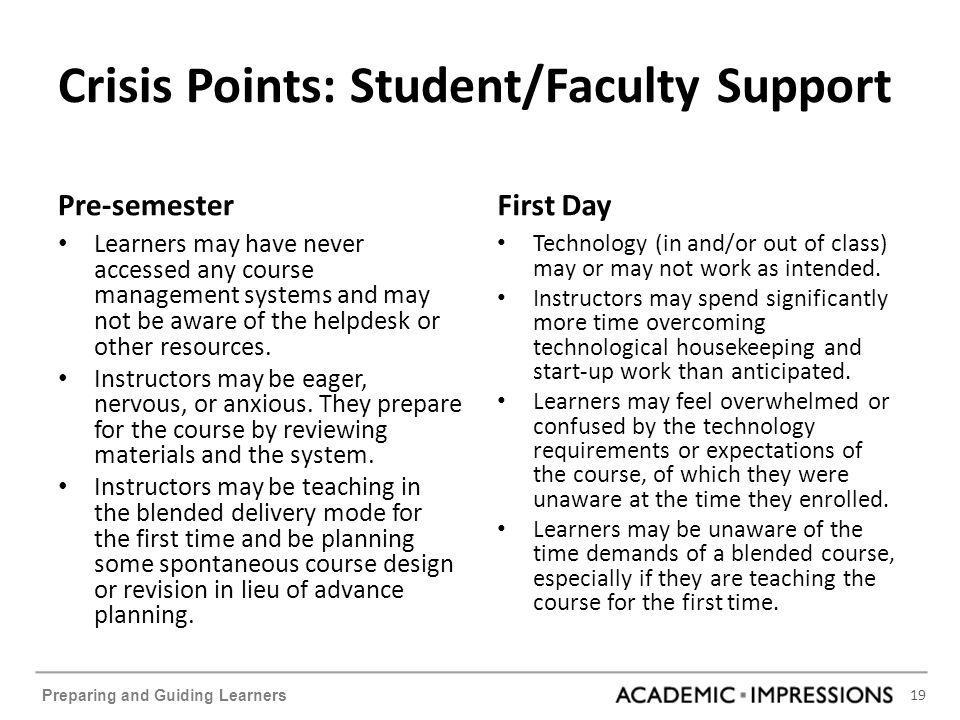 19 Preparing and Guiding Learners Crisis Points: Student/Faculty Support Pre-semester Learners may have never accessed any course management systems and may not be aware of the helpdesk or other resources.