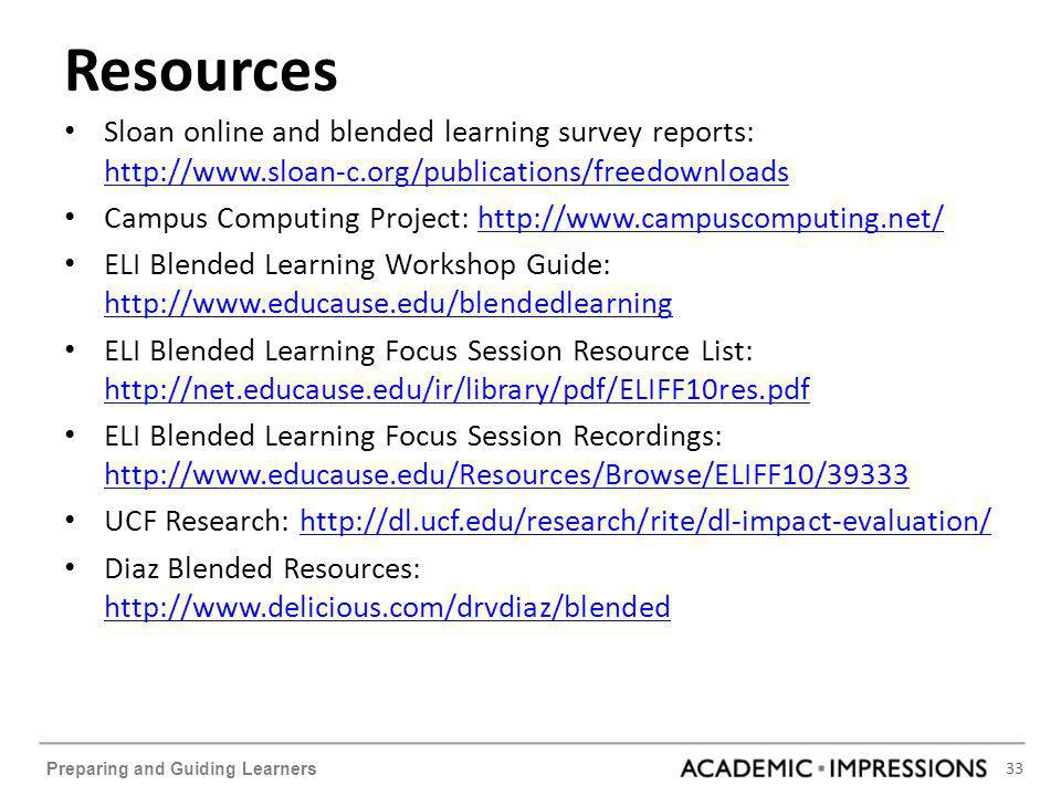 33 Preparing and Guiding Learners Resources Sloan online and blended learning survey reports: http://www.sloan-c.org/publications/freedownloads http:/