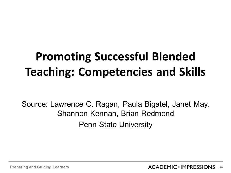 34 Preparing and Guiding Learners Promoting Successful Blended Teaching: Competencies and Skills Source: Lawrence C.