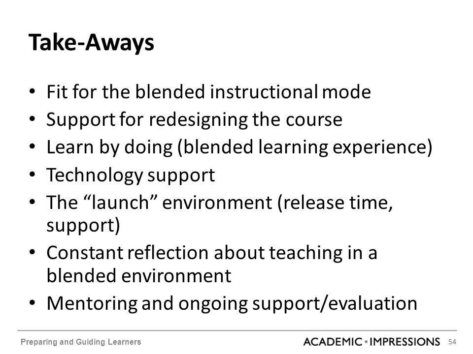 54 Preparing and Guiding Learners Take-Aways Fit for the blended instructional mode Support for redesigning the course Learn by doing (blended learning experience) Technology support The launch environment (release time, support) Constant reflection about teaching in a blended environment Mentoring and ongoing support/evaluation