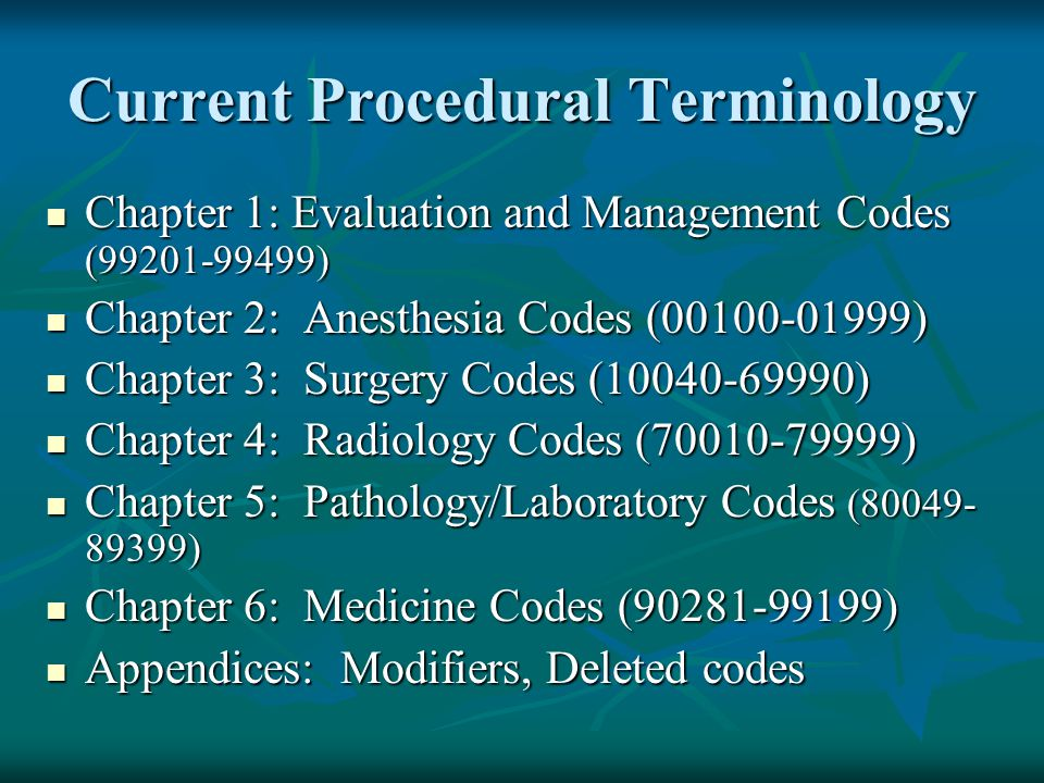 Current Procedural Terminology Chapter 1: Evaluation and Management Codes (99201-99499) Chapter 1: Evaluation and Management Codes (99201-99499) Chapt