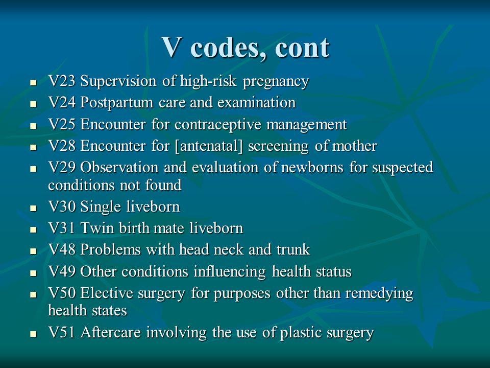 V codes, cont V23 Supervision of high-risk pregnancy V23 Supervision of high-risk pregnancy V24 Postpartum care and examination V24 Postpartum care an