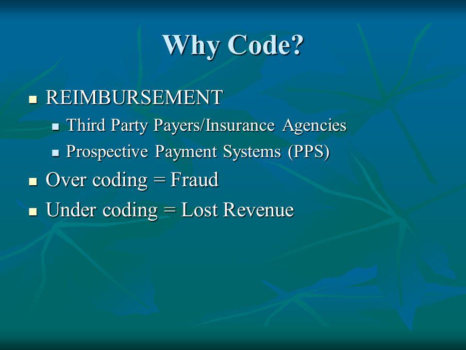 Why Code? REIMBURSEMENT REIMBURSEMENT Third Party Payers/Insurance Agencies Third Party Payers/Insurance Agencies Prospective Payment Systems (PPS) Pr