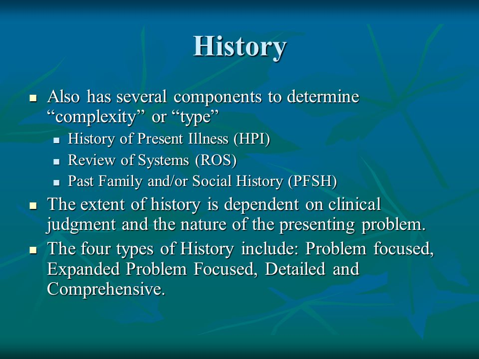 """History Also has several components to determine """"complexity"""" or """"type"""" Also has several components to determine """"complexity"""" or """"type"""" History of Pre"""
