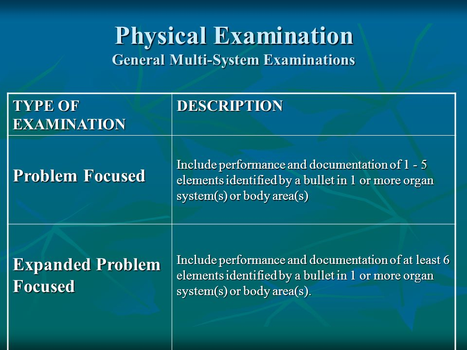 Physical Examination General Multi-System Examinations TYPE OF EXAMINATION DESCRIPTION Problem Focused Include performance and documentation of 1 - 5