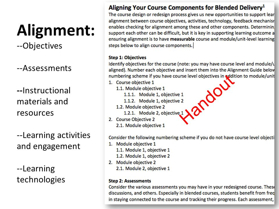 Alignment: --Objectives --Assessments --Instructional materials and resources --Learning activities and engagement --Learning technologies Handout