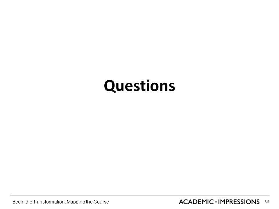 36 Begin the Transformation: Mapping the Course Questions