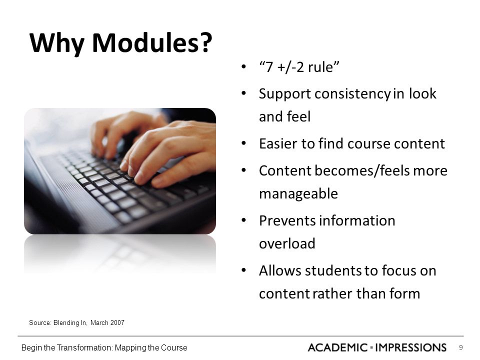 9 Begin the Transformation: Mapping the Course Why Modules.