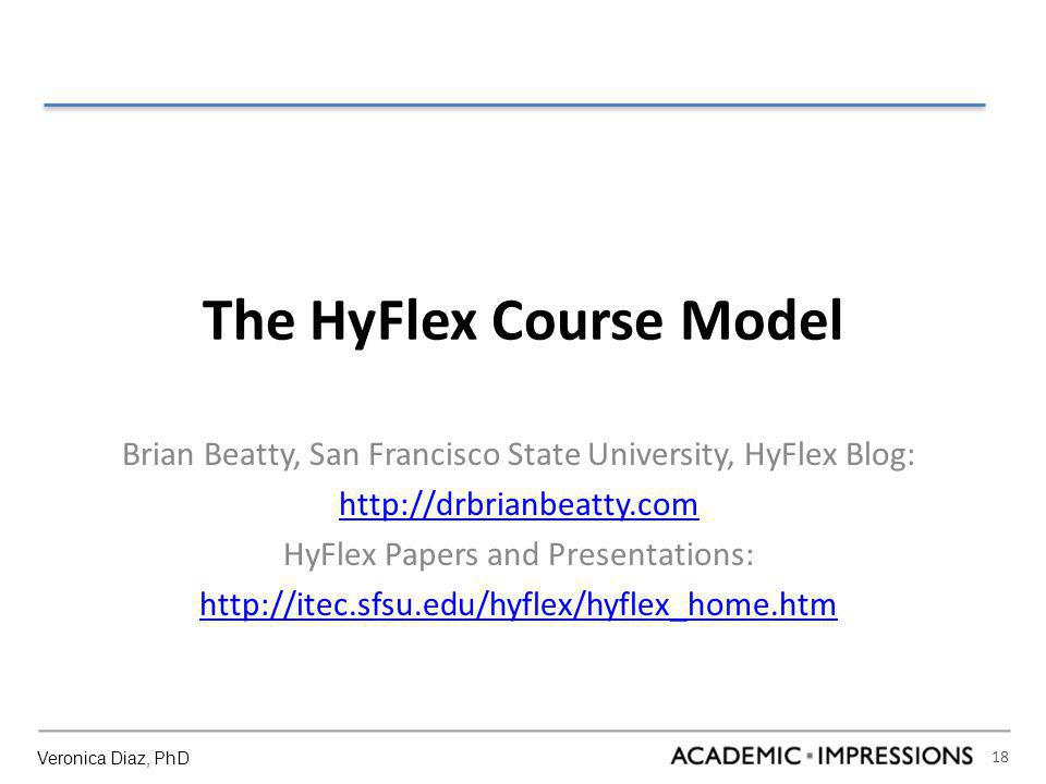 18 The HyFlex Course Model Brian Beatty, San Francisco State University, HyFlex Blog: http://drbrianbeatty.com HyFlex Papers and Presentations: http://itec.sfsu.edu/hyflex/hyflex_home.htm Veronica Diaz, PhD
