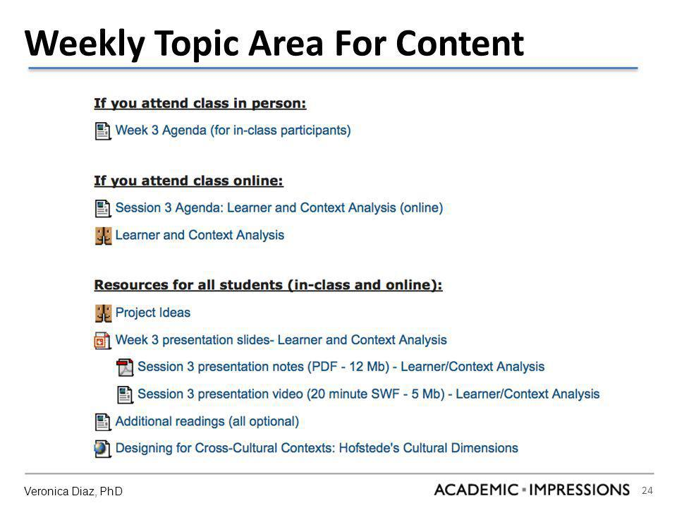 24 Weekly Topic Area For Content Veronica Diaz, PhD