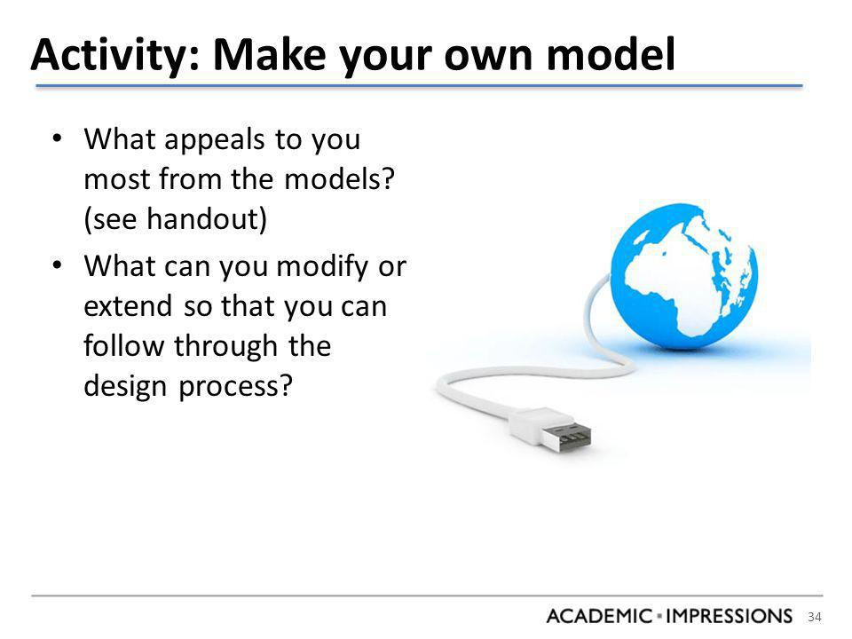 34 Activity: Make your own model What appeals to you most from the models.