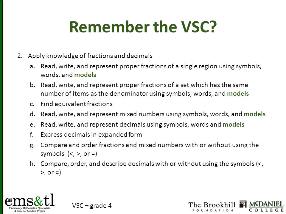 Remember the VSC? 2.Apply knowledge of fractions and decimals a.Read, write, and represent proper fractions of a single region using symbols, words, a