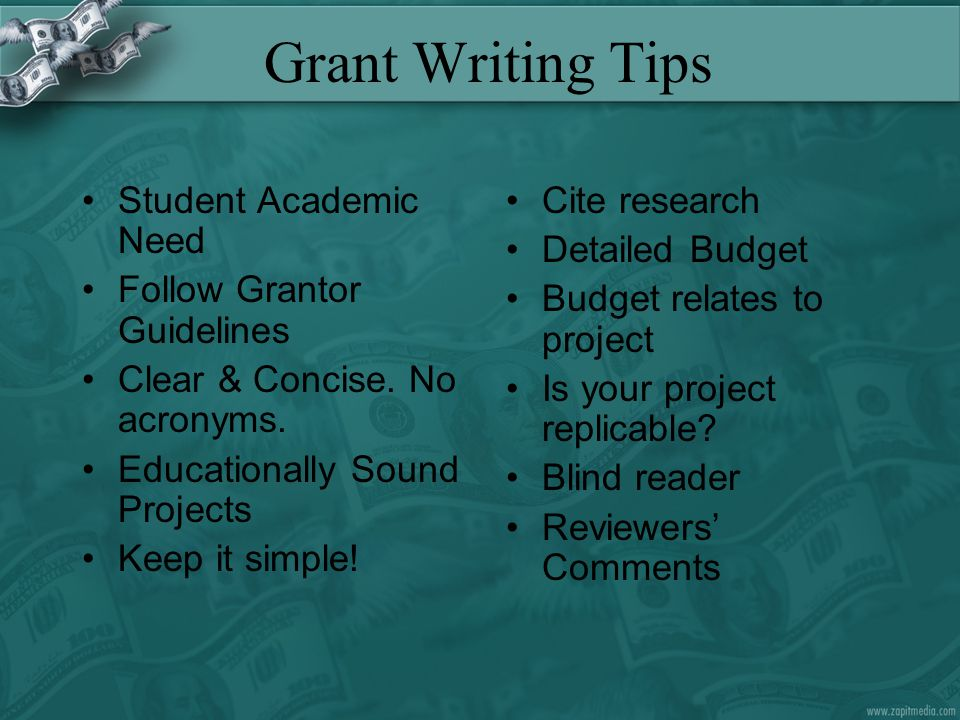 Grant Writing Tips Student Academic Need Follow Grantor Guidelines Clear & Concise.