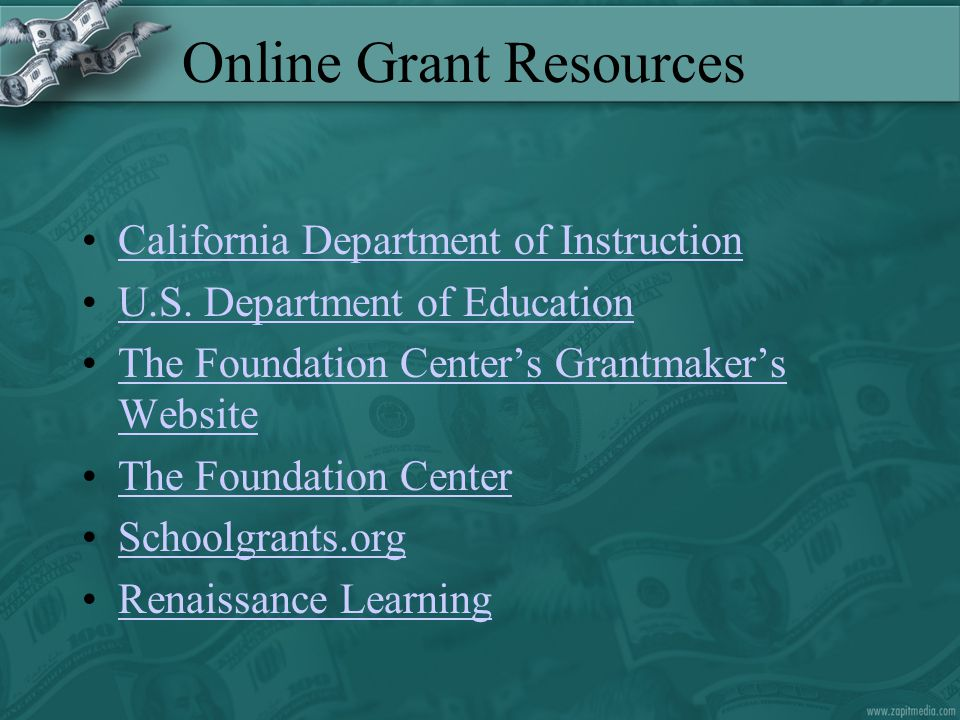 Online Grant Resources McREL Funding for Technology Sheryl Abshire's Educational Resources for GrantseekersSheryl Abshire's Educational Resources for Grantseekers eSchool News Online Funding Center Society of Research Administrators International GrantsWebSociety of Research Administrators International GrantsWeb Alameda County Office of Education Grants Resource CenterAlameda County Office of Education Grants Resource Center CTAG Funding Alert