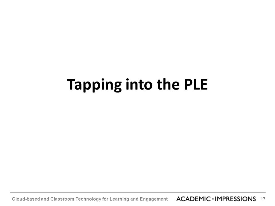 17 Cloud-based and Classroom Technology for Learning and Engagement Tapping into the PLE
