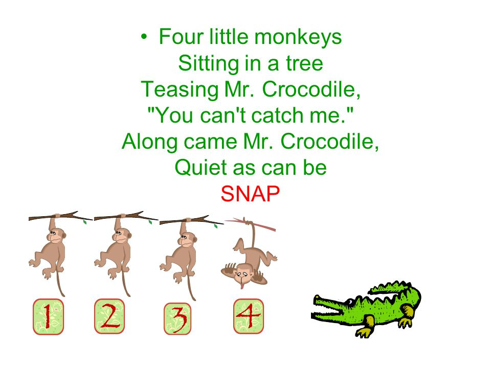 Four little monkeys Sitting in a tree Teasing Mr. Crocodile, You can t catch me. Along came Mr.