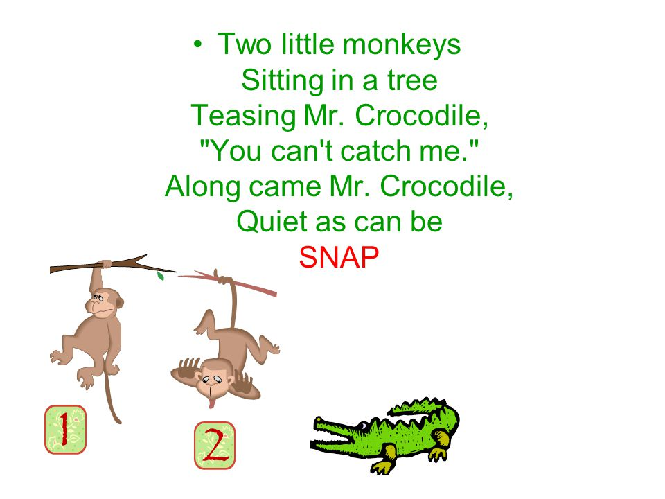 Two little monkeys Sitting in a tree Teasing Mr.Crocodile, You can t catch me. Along came Mr.
