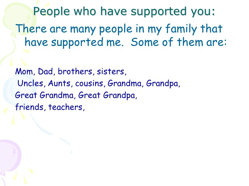 People who have supported you: There are many people in my family that have supported me.