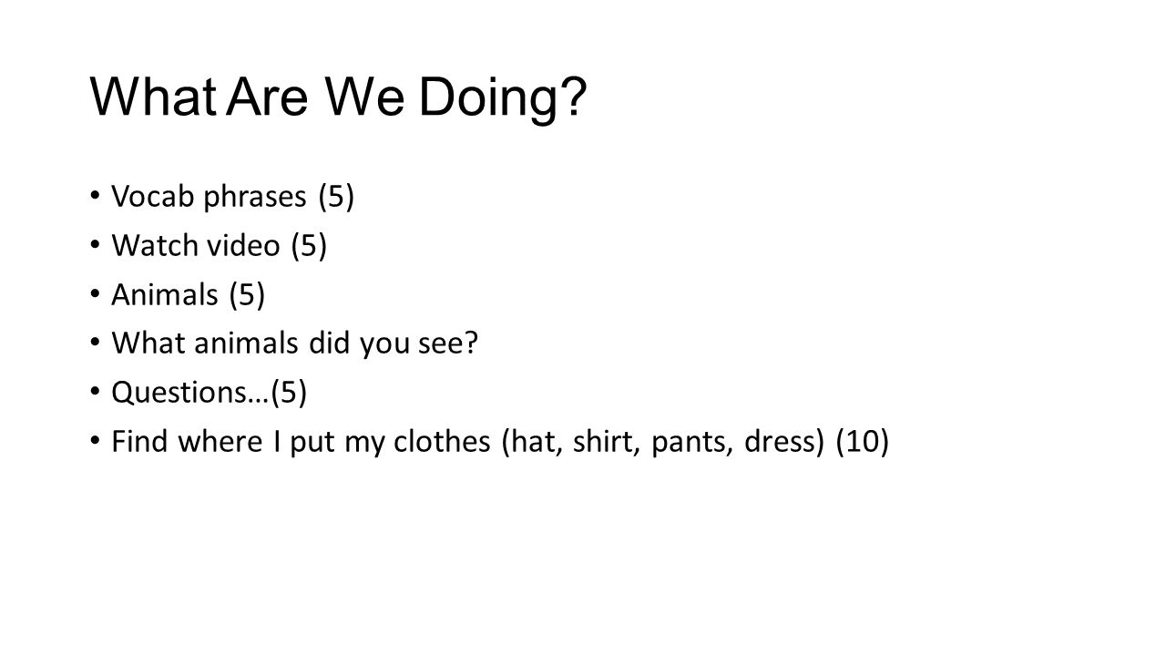What Are We Doing. Vocab phrases (5) Watch video (5) Animals (5) What animals did you see.