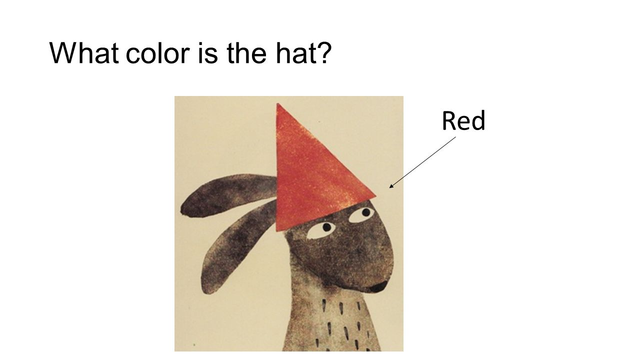 What color is the hat? Red