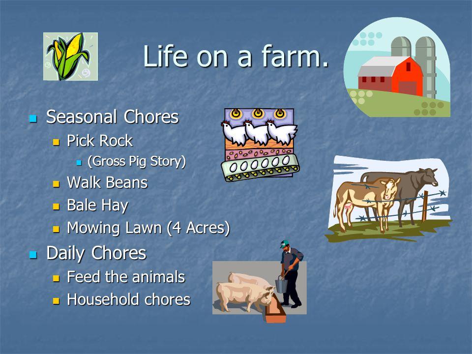 Life on a farm. Seasonal Chores Seasonal Chores Pick Rock Pick Rock (Gross Pig Story) (Gross Pig Story) Walk Beans Walk Beans Bale Hay Bale Hay Mowing