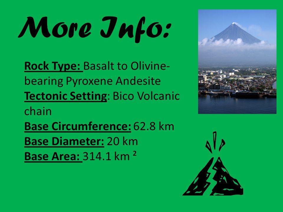 More Info: Rock Type: Basalt to Olivine- bearing Pyroxene Andesite Tectonic Setting: Bico Volcanic chain Base Circumference: 62.8 km Base Diameter: 20 km Base Area: 314.1 km ²