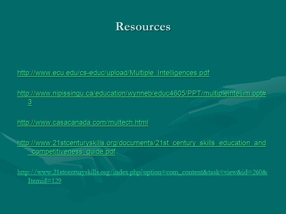 Resources http://www.ecu.edu/cs-educ/upload/Multiple_Intelligences.pdf http://www.nipissingu.ca/education/wynneb/educ4605/PPT/multipleinteljim.ppt# 3 http://www.nipissingu.ca/education/wynneb/educ4605/PPT/multipleinteljim.ppt# 3 http://www.casacanada.com/multech.html http://www.21stcenturyskills.org/documents/21st_century_skills_education_and _competitiveness_guide.pdf http://www.21stcenturyskills.org/documents/21st_century_skills_education_and _competitiveness_guide.pdf http://www.21stcenturyskills.org/index.php?option=com_content&task=view&id=260& Itemid=129