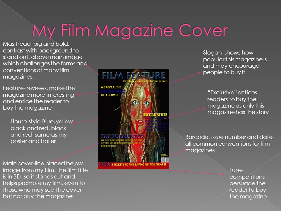 Masthead- big and bold, contrast with background to stand out, above main image which challenges the forms and conventions of many film magazines. Fea