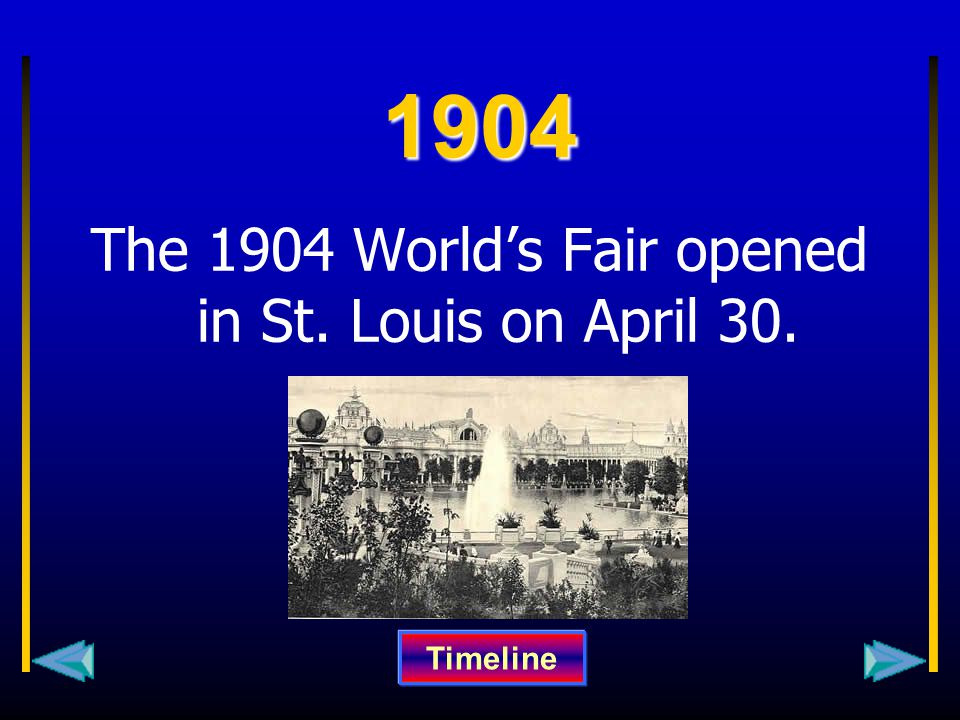 1904 The 1904 World's Fair opened in St. Louis on April 30. Timeline