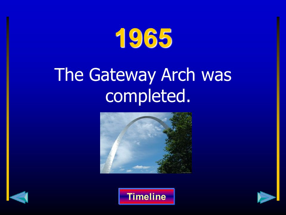 1965 The Gateway Arch was completed. Timeline