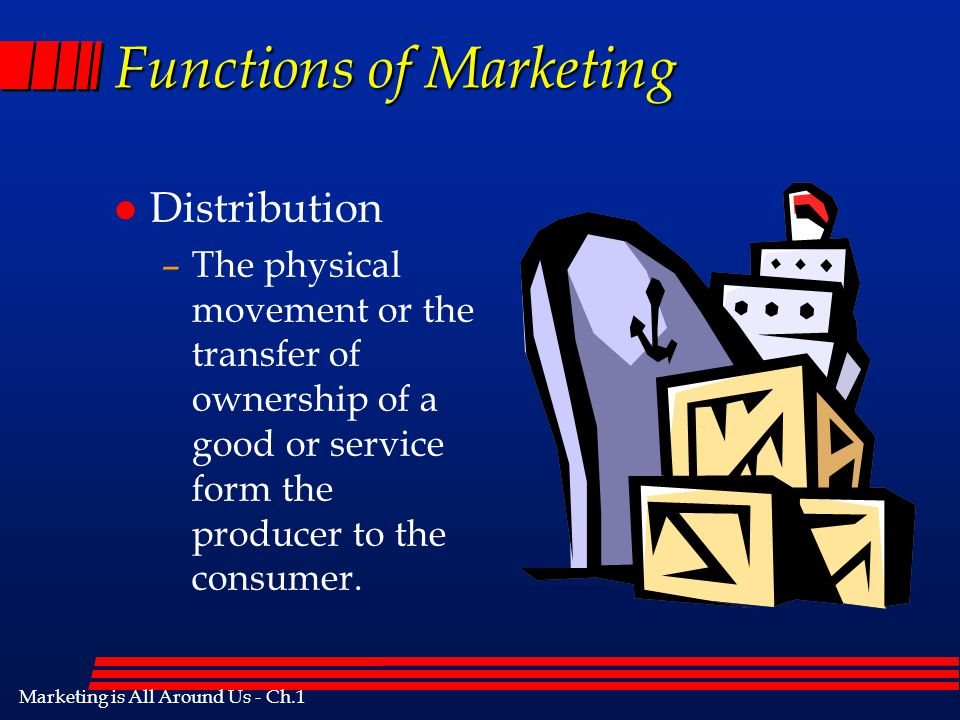 Marketing is All Around Us - Ch.1 Functions of Marketing l Financing –Determining the need for and availability of financial resources to aid in marke