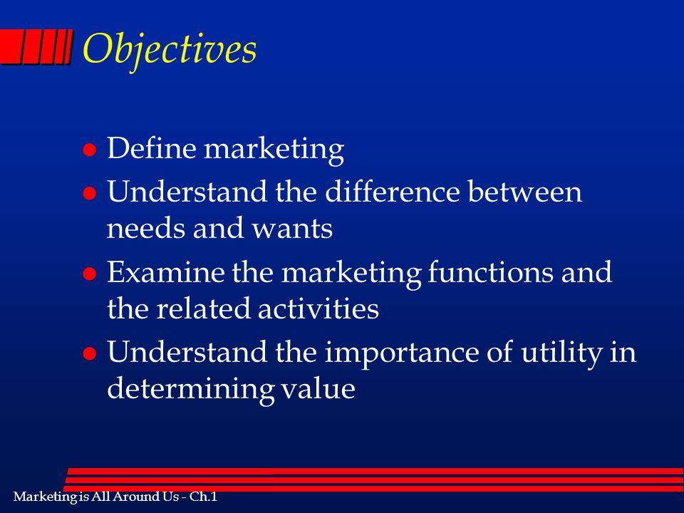 Marketing is All Around Us - Ch.1 Marketing is All Around Us