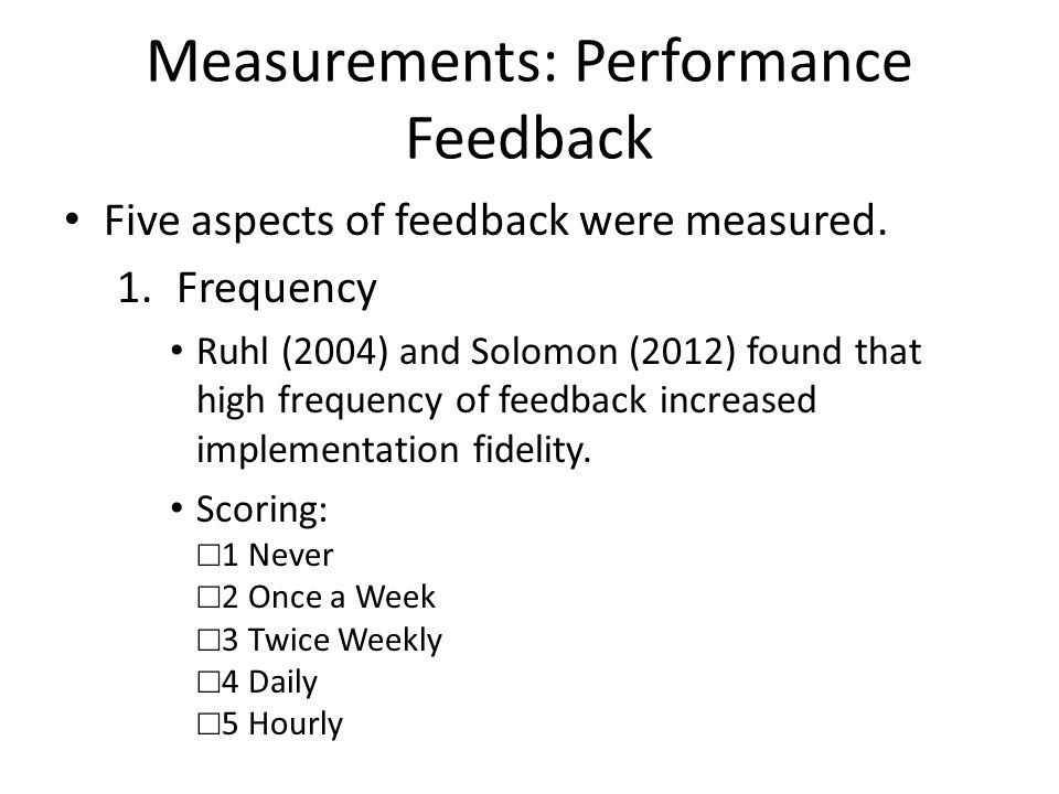 Measurements: Performance Feedback Cont.2.