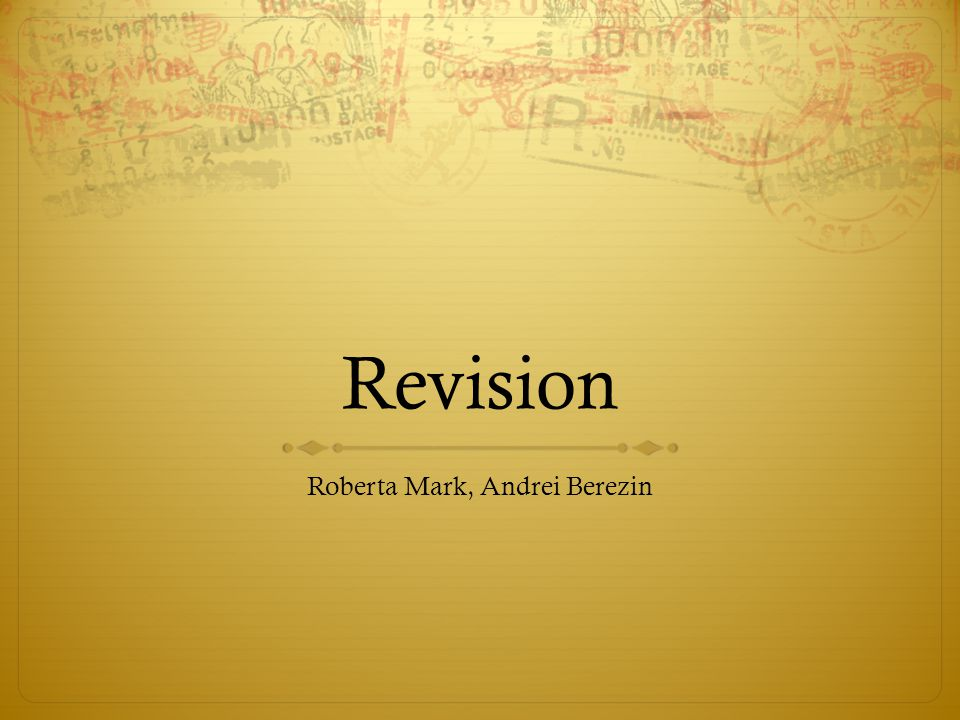 Revision Roberta Mark, Andrei Berezin