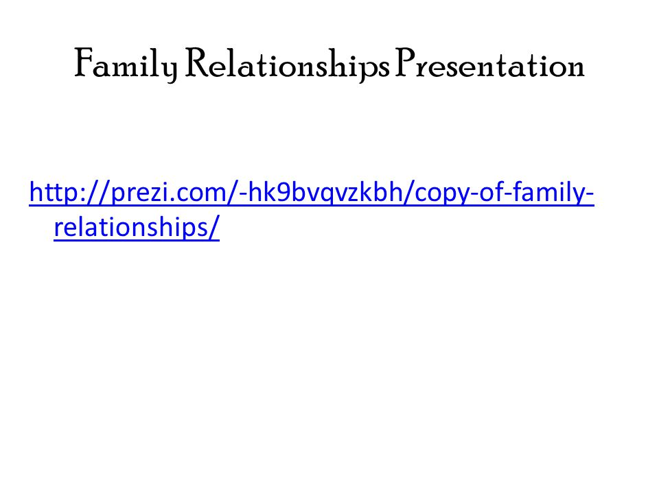 Family Relationships Presentation http://prezi.com/-hk9bvqvzkbh/copy-of-family- relationships/