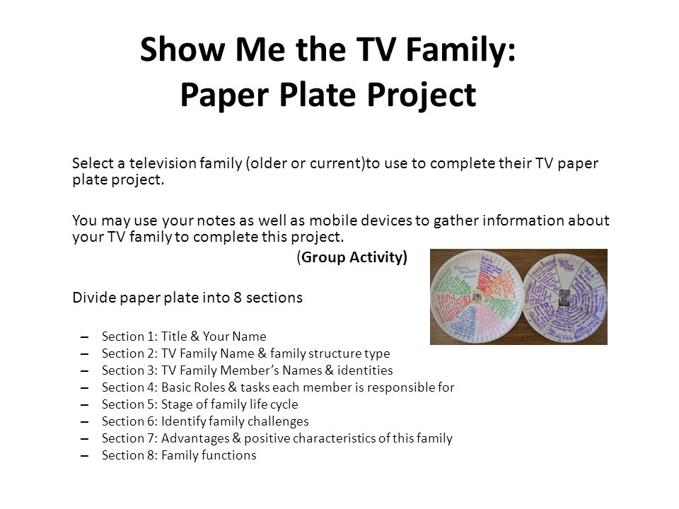Show Me the TV Family: Paper Plate Project Select a television family (older or current)to use to complete their TV paper plate project.