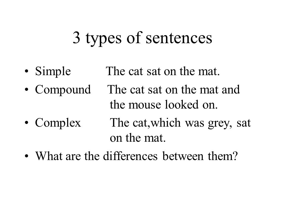 3 types of sentences Simple The cat sat on the mat. Compound The cat sat on the mat and the mouse looked on. Complex The cat,which was grey, sat on th