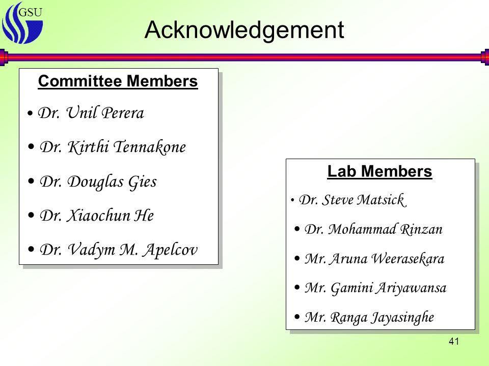 GSU 41 Acknowledgement Committee Members Dr. Unil Perera Dr.